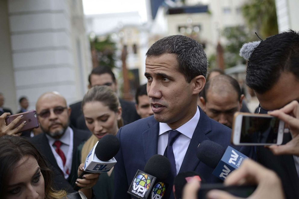 PHOTO: Venezuelan opposition leader and National Assembly Leader Juan Guaido speaks to the press as he arrives to National Assembly during the 208th anniversary of the Venezuelan Independence declaration on July 5, 2019 in Caracas, Venezuela.