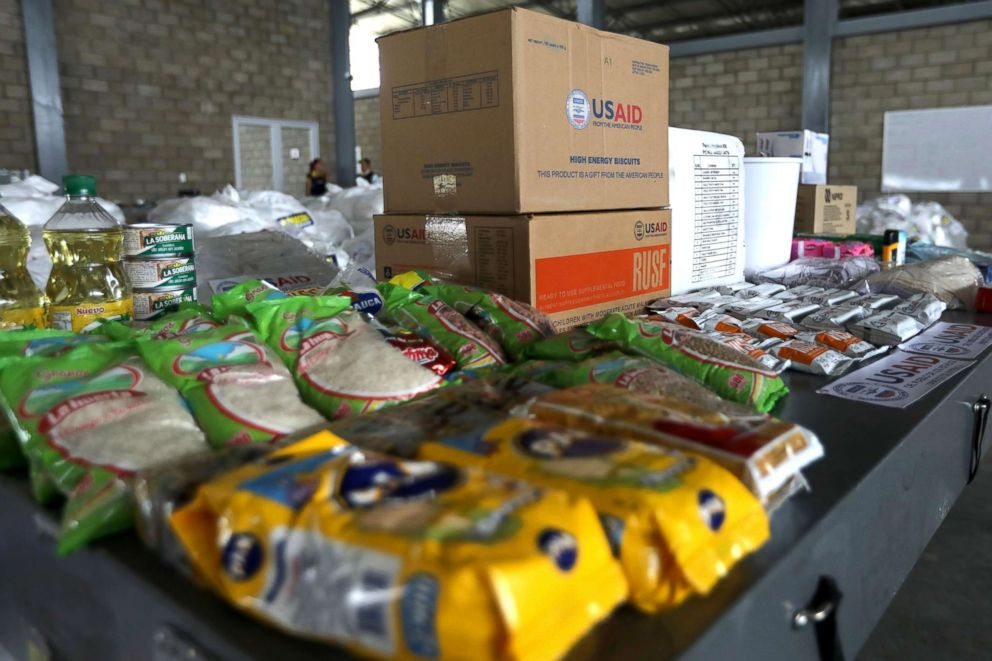 PHOTO: Humanitarian aid for Venezuela is seen at a warehouse at the Tienditas cross-border bridge between Colombia and Venezuela in Cucuta, Colombia, Feb. 18, 2019.