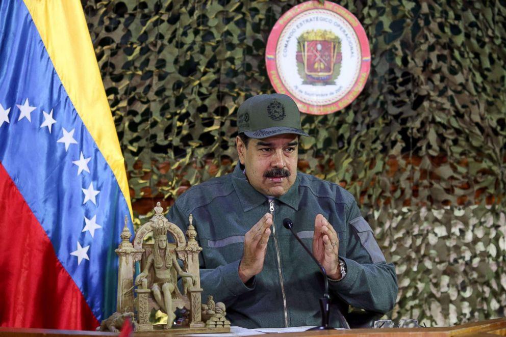 PHOTO: Venezuelas President Nicolas Maduro delivers a speech at the Fuerte Tiuna Military Complex, in Caracas, Jan. 15, 2019.