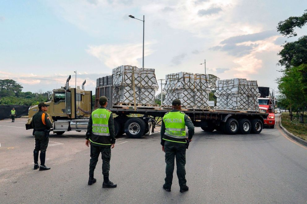 PHOTO: Trucks loaded with humanitarian aid for Venezuela drive towards the Tienditas Bridge in Cucuta, Colombia, on the border with Tachira, Venezuela, Feb. 16, 2019.