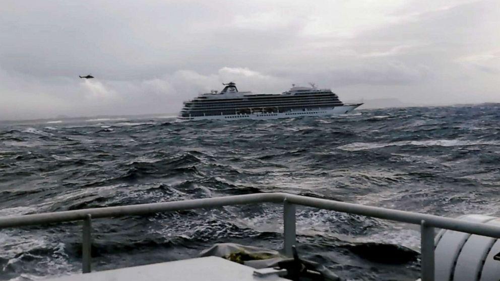 The cruise ship Viking Sky drifts towards land after an engine failure near Hustadvika, Norway, March 23, 2019.