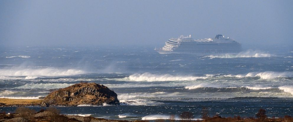 PHOTO: The cruise ship Viking Sky as it drifts after sending a Mayday signal because of engine failure in windy conditions near Hustadvika, off the west coast of Norway, Saturday March 23, 2019.