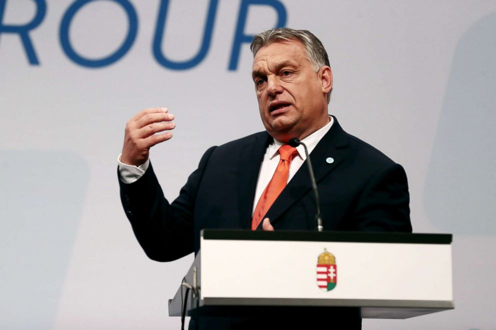 PHOTO: Hungarian Prime Minister Viktor Orban delivers his speech during a press conference at a meeting of the Visegrad Group (V4) in Budapest, Hungary, Jun   e 21, 2018.