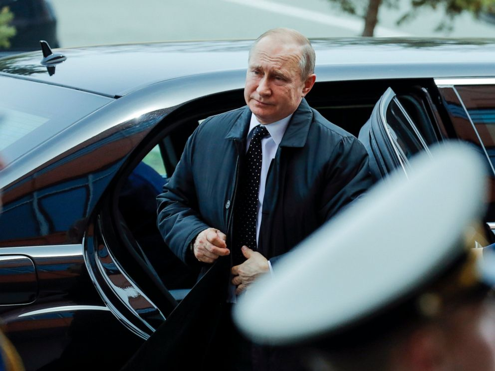 PHOTO: Russian President Vladimir Putin arrives to meet with North Koreas leader Kim Jong Un in Vladivostok, Russia, Thursday, April 25, 2019.