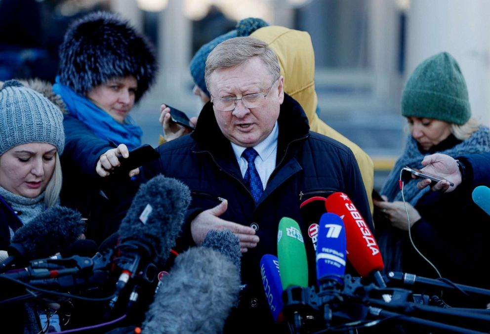 PHOTO: Vladimir Zherebenkov, a lawyer of suspected spy Paul Whelan, speaks to the media after a hearing of an appeal on Whelans arrest, in front of the Moscow City Court in Moscow, Jan. 22, 2019.