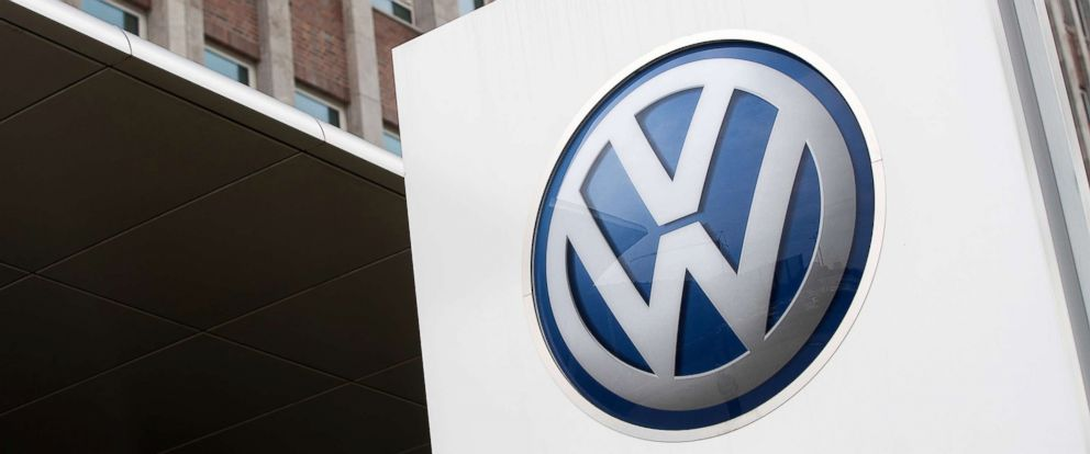 PHOTO: The VW logo sits on a sign outside the Volkswagen AG factory in Wolfsburg, Germany, May 19, 2017.