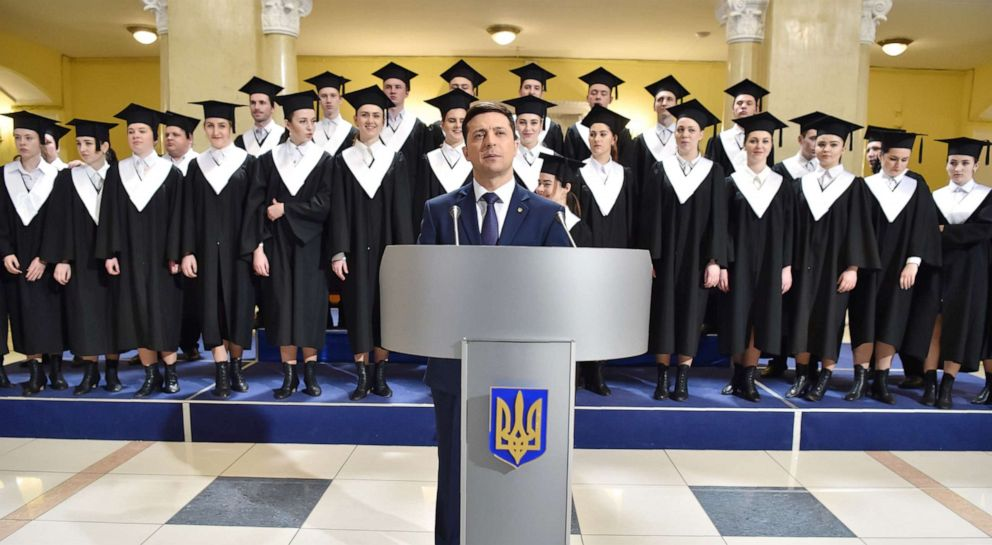 PHOTO: Ukrainian comic actor, showman and presidential candidate Volodymyr Zelensky takes part in the shooting of the television series Servant of the People where he plays the role of the President of Ukraine, in Kiev on March 6, 2019.