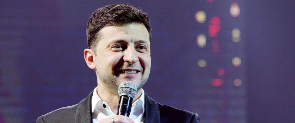 PHOTO: Volodymyr Zelenskiy performs during a comedy show at a concert hall in the Brovary city near of Kiev, Ukraine, March, 29, 2019.
