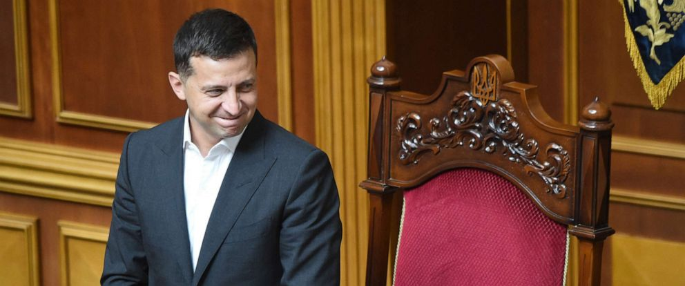 PHOTO: Ukrainian President Volodymyr Zelensky greets lawmakers during the solemn opening and first sitting of the new parliament, the Verkhovna Rada, in Kiev on Aug. 29, 2019.