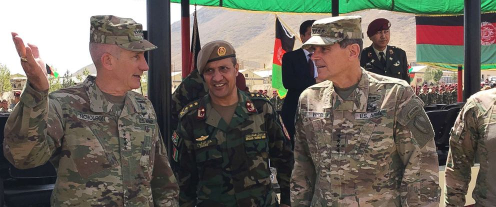 PHOTO: Gen. John Nicholson, top commander in Afghanistan, left, talks with Col. Khanullah Shuja, commander of the national mission brigade of the Afghan special operations force, and U.S. Gen. Joseph Votel, head of U.S. Central Command, Aug. 20, 2017.