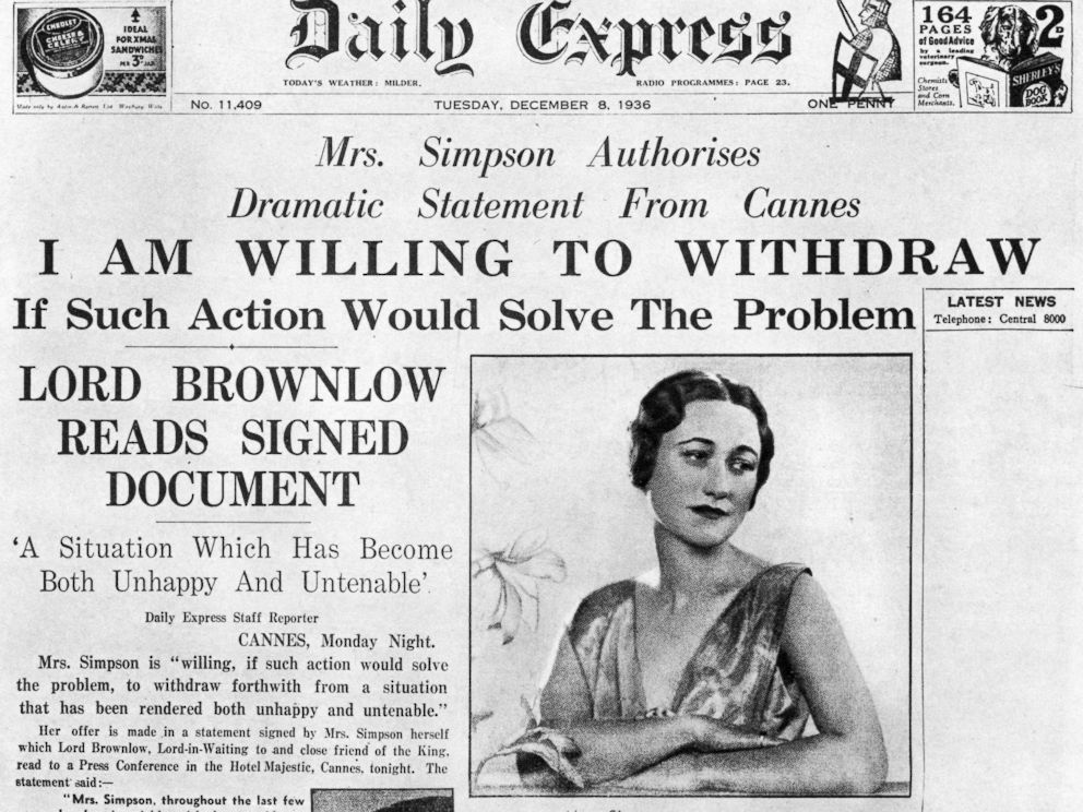 PHOTO: Wallis Simpson is pictured on the front page of the Daily Express newspaper on Dec. 8, 1936.