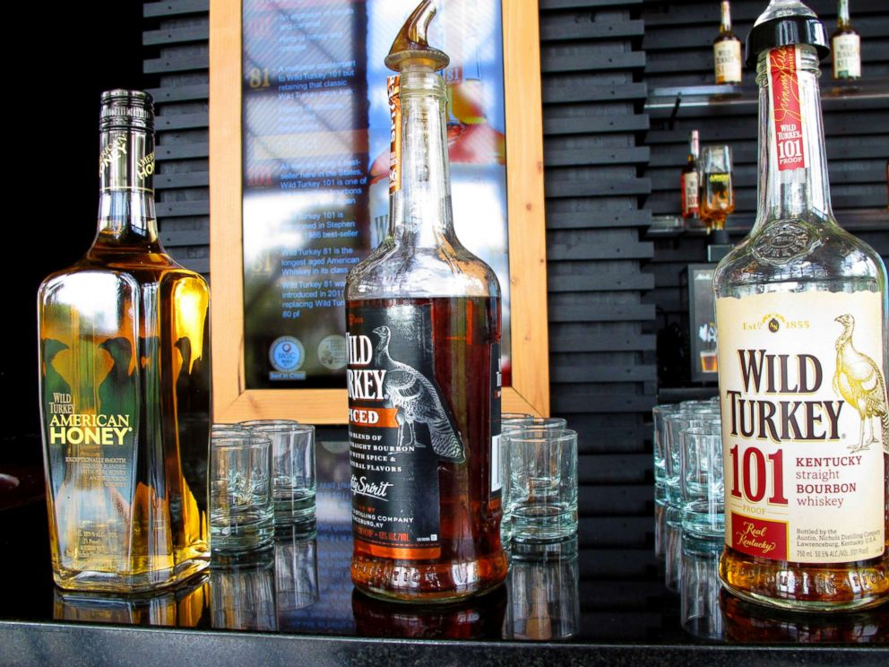 PHOTO: In this Aug. 22, 2014, file photo, Wild Turkey sampling bottles sit on the bar at the distillerys visitors center near Lawrenceburg, Ky.  Whiskey, Harley prices expected to jump in Europe as tariffs take effect whiskey europe tariffs ap thg 180622 hpMain 4x3 992