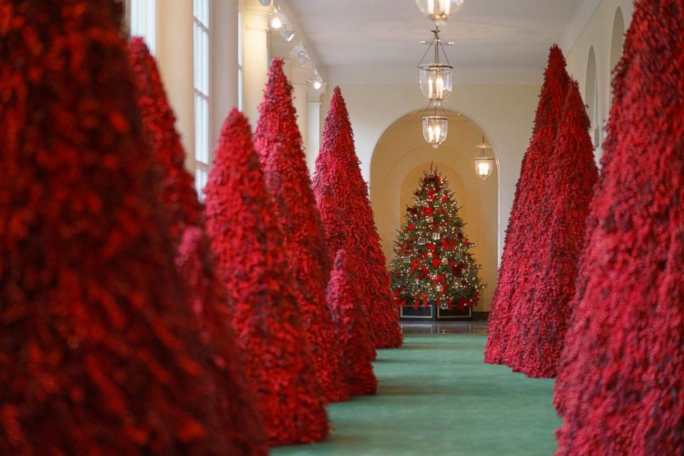 Carolyn Kaster  APTopiary trees line the East colonnade during the 2018 Christmas Press Preview at the White House in Washington Nov. 26 2018