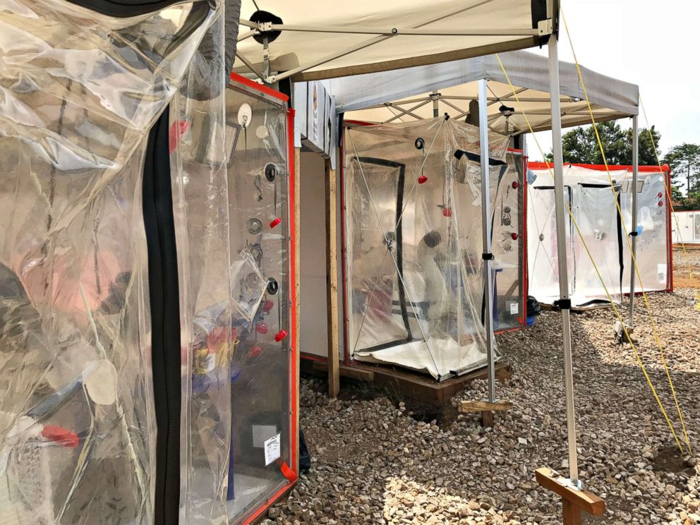 PHOTO: The new therapeutics are administered in these Biosecure Emergency Care Units for outbreaks (CUBE) at ALIMA Ebola treatment center in Beni General Hospital on Aug. 16, 2018.