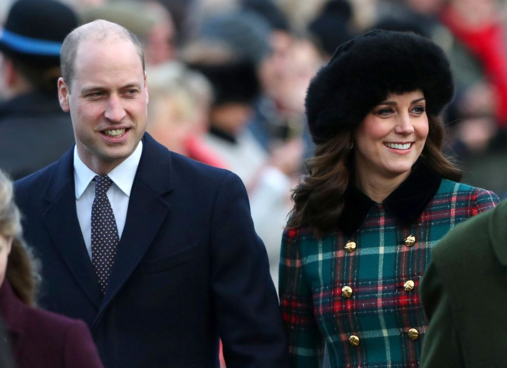 Prince William and Catherine, Duchess of Cambridge arrive at St Mary Magdalene's church for the Royal Family's Christmas Day service on the Sandringham estate in eastern England, Dec. 25, 2017.
