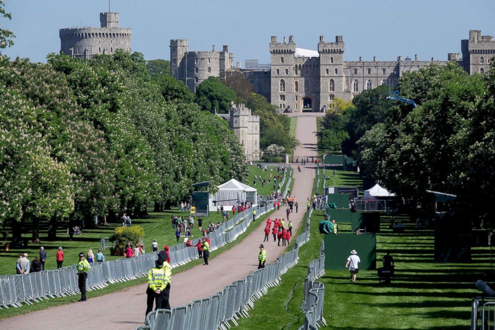 PHOTO: Barriers are in place on The Long Walk leading to Windsor Castle two days ahead of the wedding of Prince Harry and Meghan Markle, May 17, 2018, in Windsor, England.