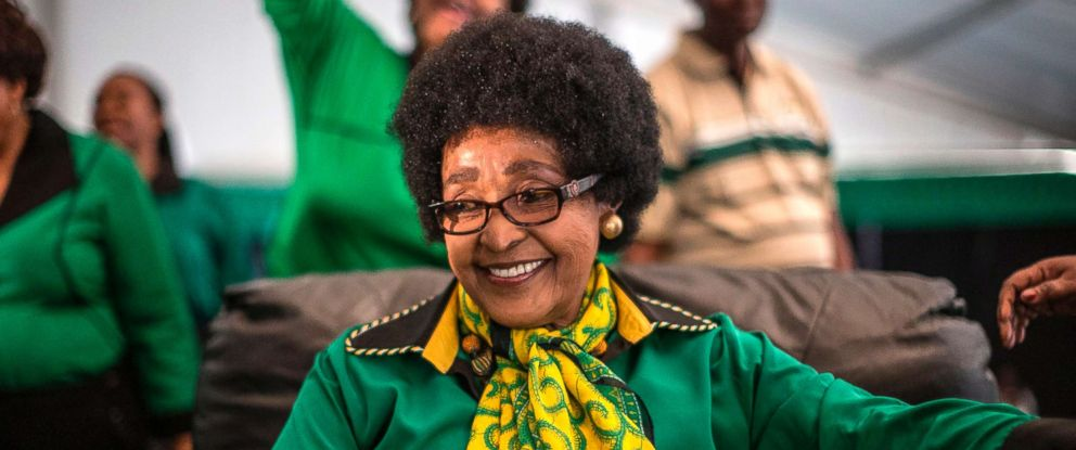 PHOTO: Africa National Congress stalwart Winnie Madikizela Mandela is greeted by Women League supporters gathered in Soweto to celebrate her 80th birthday, Sept. 26, 2016.