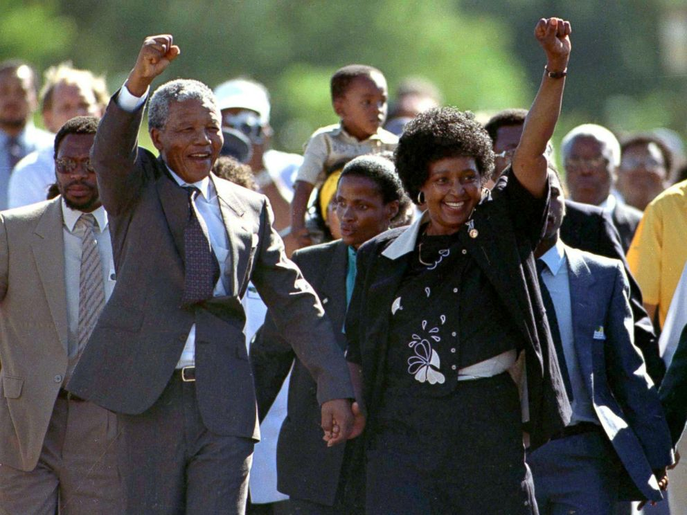 PHOTO: President Nelson Mandela is accompanied by his then wife Winnie, moments after his release from prison near Paarl, South Africa, Feb. 11, 1990.