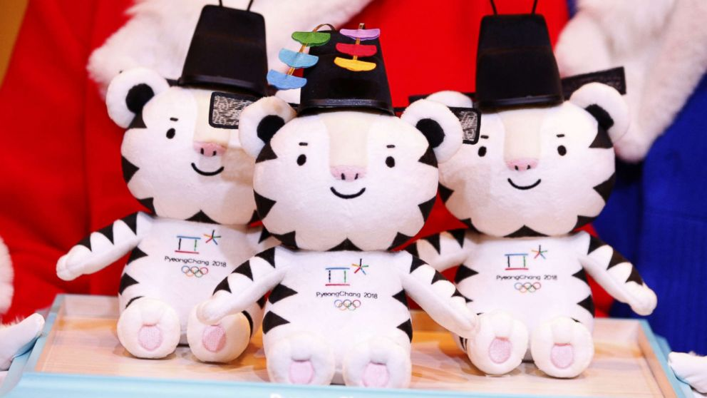 Mascots dolls are presented during the Launch of Victory Ceremonies PyeongChang 2018 at the Press Center in downtown Seoul, South Korea, Dec. 27, 2017. This is Soohorang, a white tiger.