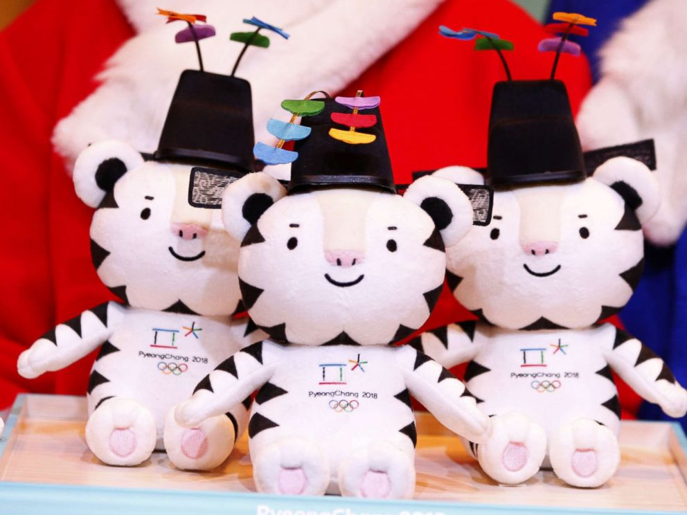 PHOTO: Mascots dolls are presented during the Launch of Victory Ceremonies PyeongChang 2018 at the Press Center in downtown Seoul, South Korea, Dec. 27, 2017. This is Soohorang, a white tiger.