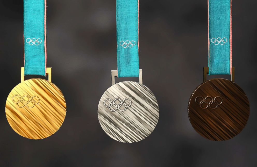 PHOTO: The PyeonChang 2018 gold, silver and bronze medals are seen during the Team USA Media Summit, Sept. 25, 2017 in Park City, Utah.