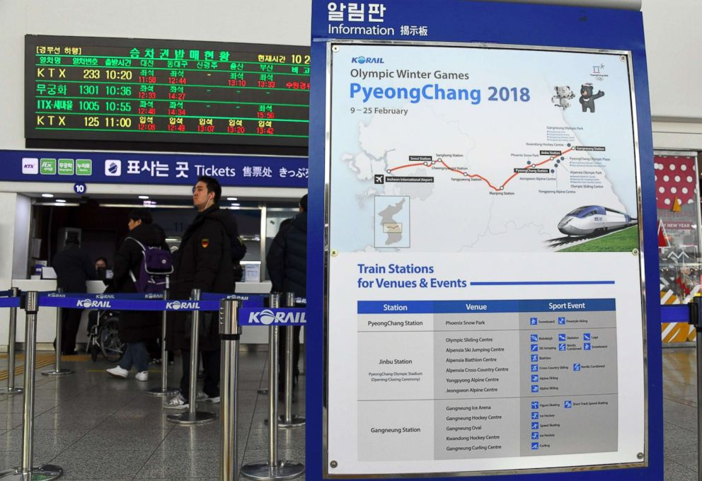 A billboard showing information on a new high-speed train line for the 2018 PyeongChang Winter Olympic Games, at Seoul station in Seoul on December 22, 2017. The train will cut travel time significantly.