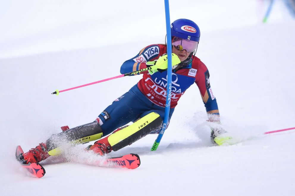 PHOTO:Mikaela Shiffrin of USA takes 1st place during the Audi FIS Alpine Ski World Cup Womens Slalom on December 28, 2017 in Lienz, Austria. She is expected to compete in the Downhill races at the Winter Olympics being held in Pyeongchang, South Korea.