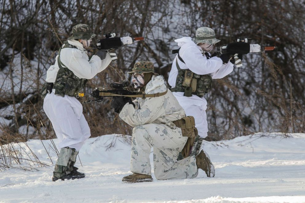 PHOTO: US and South Korean Marines take part in a joint exercise in Pyeongchang, Gangwon, South Korea, Dec. 19, 2017 as part of the security measures surrounding the Winter Olympics.