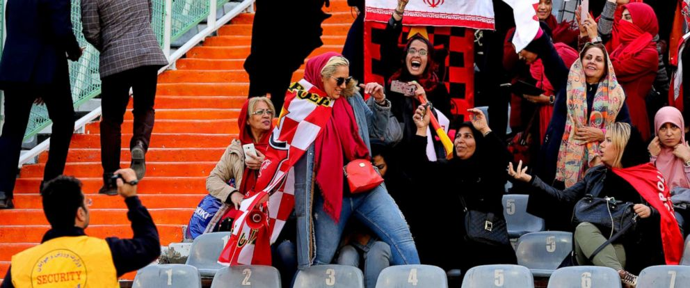 PHOTO: Female Iranian fans attend to support their team on Nov. 10, 2018, at the Azadi Stadium in Tehran.