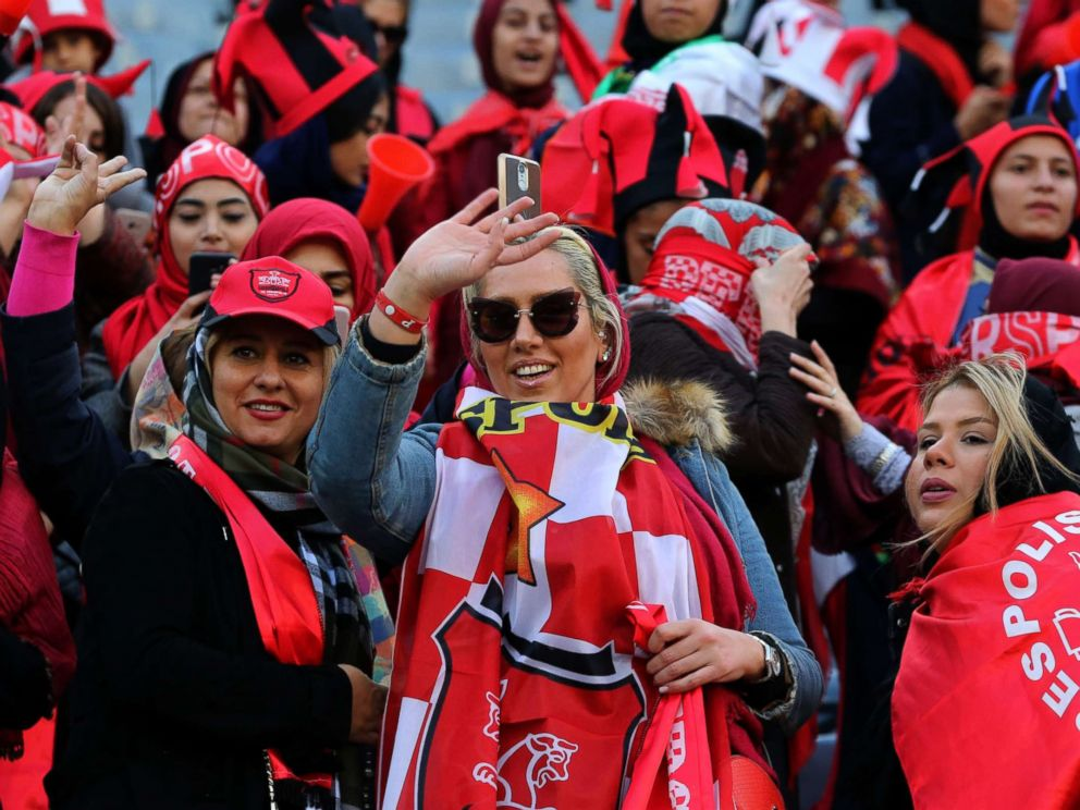 PHOTO: Female Iranian fans support their team on Nov. 10, 2018, at the Azadi Stadium in Tehran.