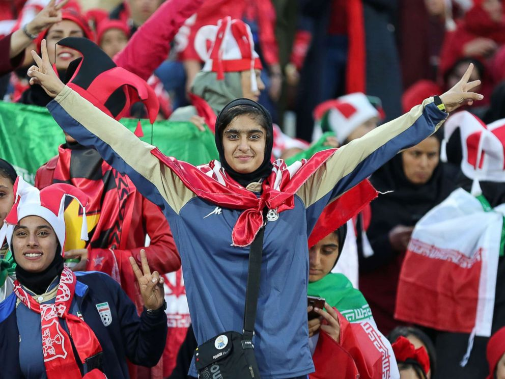 PHOTO: Persepolis female fans cheer for their team on Nov. 10, 2018, at the Azadi Stadium in Tehran.