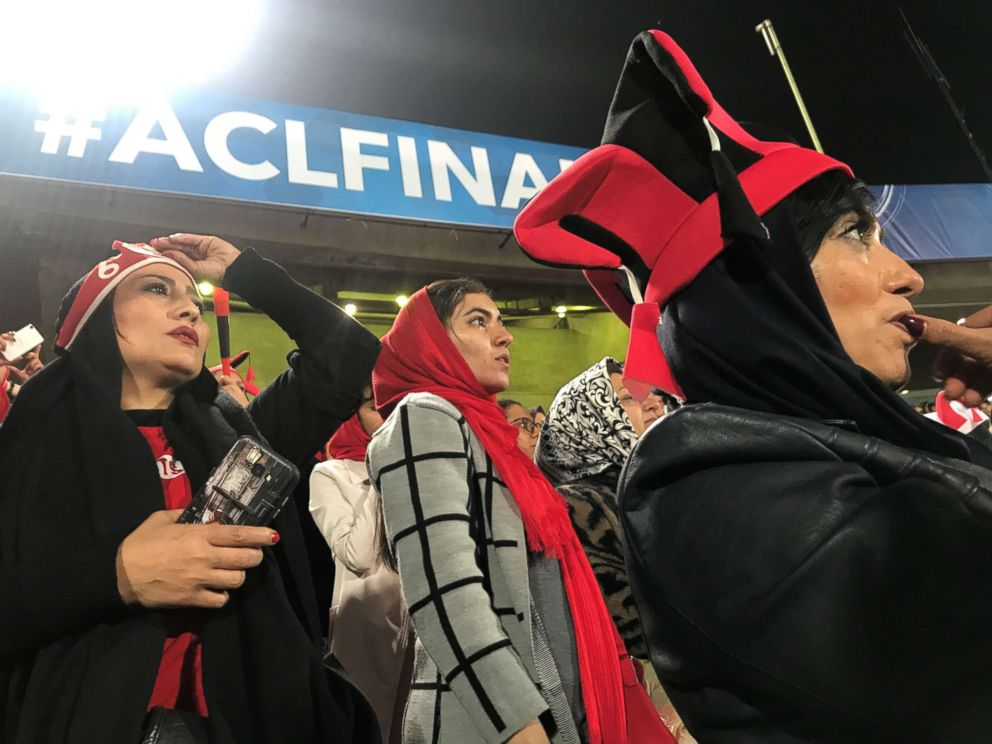 PHOTO: Female fans of the Iranian soccer team Persepolis react as the team misses the chance to score a goal in Tehrans Azadi Stadium, Nov. 10, 2018 in Iran.