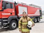 PHOTO: Devrim Ozdemir, a female firefighter, poses during a training session on Feb. 20, 2018, in Izmir, Turkey.