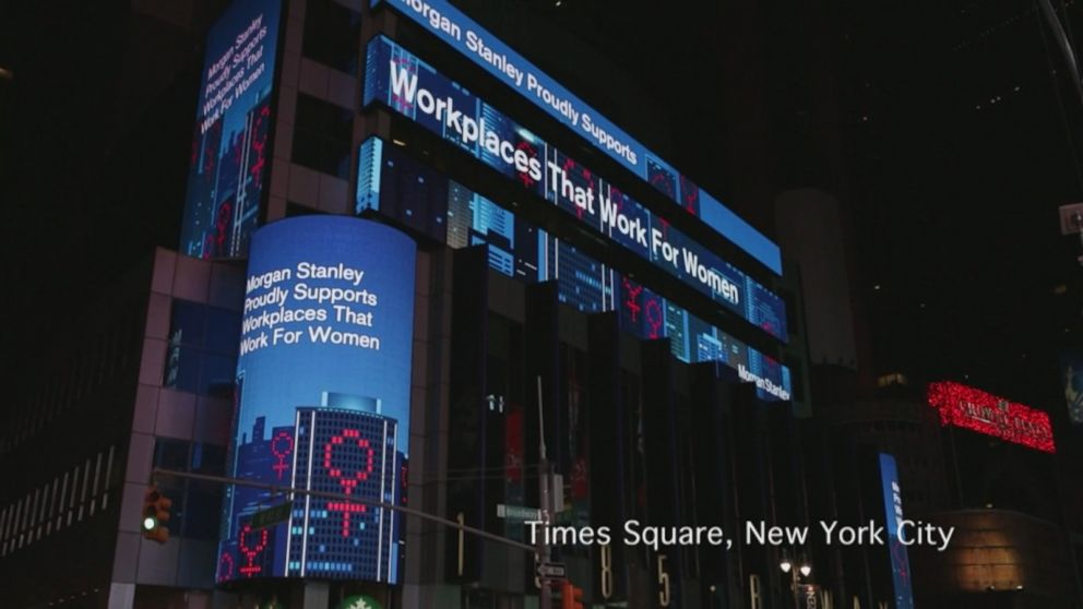 PHOTO: On the eve of International Women's Day, Catalyst is using buildings as beacons to send a powerful message to the world: we need workplaces that work for women, March 7, 2018.