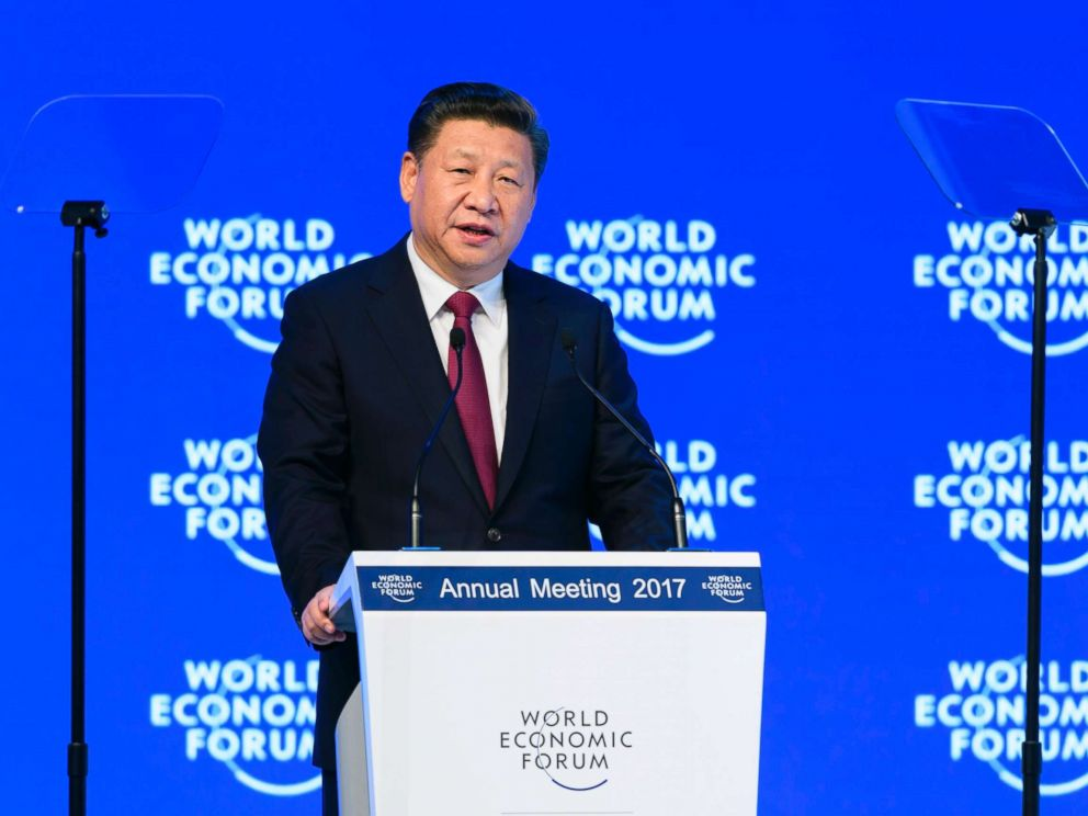 PHOTO: Chinas President Xi Jinping delivers a speech during the first day of the World Economic Forum, Jan. 17, 2017, in Davos Switzerland.