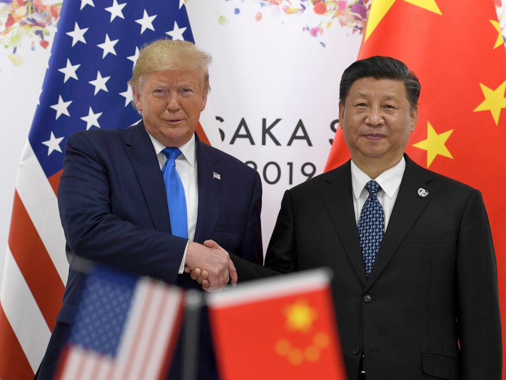 PHOTO: President Donald Trump, left, shakes hands with Chinese President Xi Jinping during a meeting on the sidelines of the G-20 summit in Osaka, Japan, Saturday, June 29, 2019.