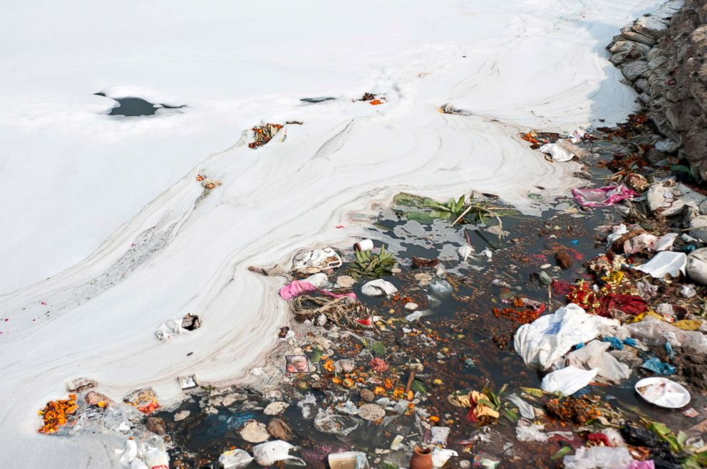 Toxic waste and trash are seen in the Yamuna river in New Delhi, India, Nov. 20, 2015.