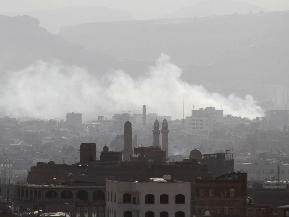 PHOTO: Smoke rises from areas where Houthi fighters clashed with forces loyal to Yemens former president Ali Abdullah Saleh, who was killed, in Sanaa, Yemen Dec. 4, 2017.