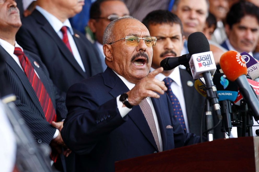 PHOTO: Yemens ex-president Ali Abdullah Saleh gives a speech addressing his supporters during a rally as his political party, the General Peoples Congress, marks 35 years since its founding, in Sanaa, Yemen, Aug. 24, 2017.