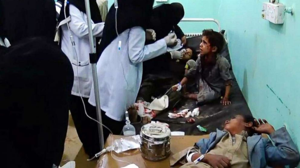 A video grab shows wounded Yemeni children lying on beds receiving treatment at a hospital after being injured in an alleged Saudi-led airstrike in the northern province of Saada, Yemen, Aug. 9, 2018.