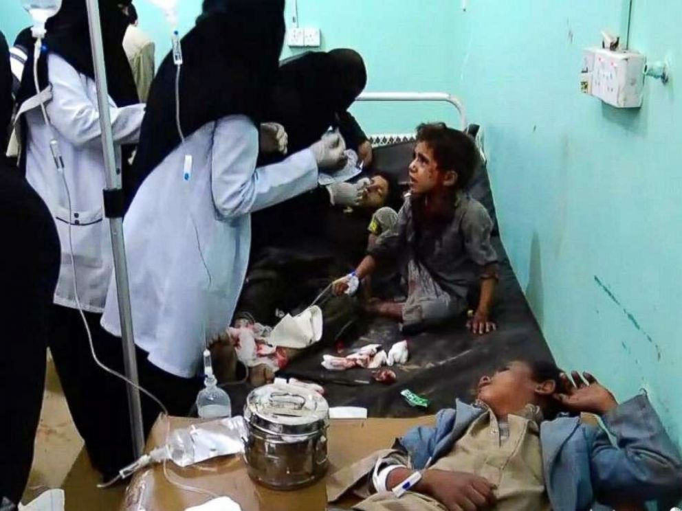 PHOTO: A video grab shows wounded Yemeni children lying on beds receiving treatment at a hospital after being injured in an alleged Saudi-led airstrike in the northern province of Saada, Yemen, Aug. 9, 2018.