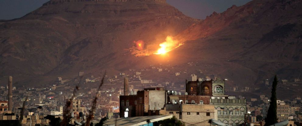PHOTO: In this Oct. 14, 2016 file photo, fire and smoke rise after a Saudi-led airstrike hit a site believed to be one of the largest weapons depots on the outskirts of Yemens capital, Sanaa.