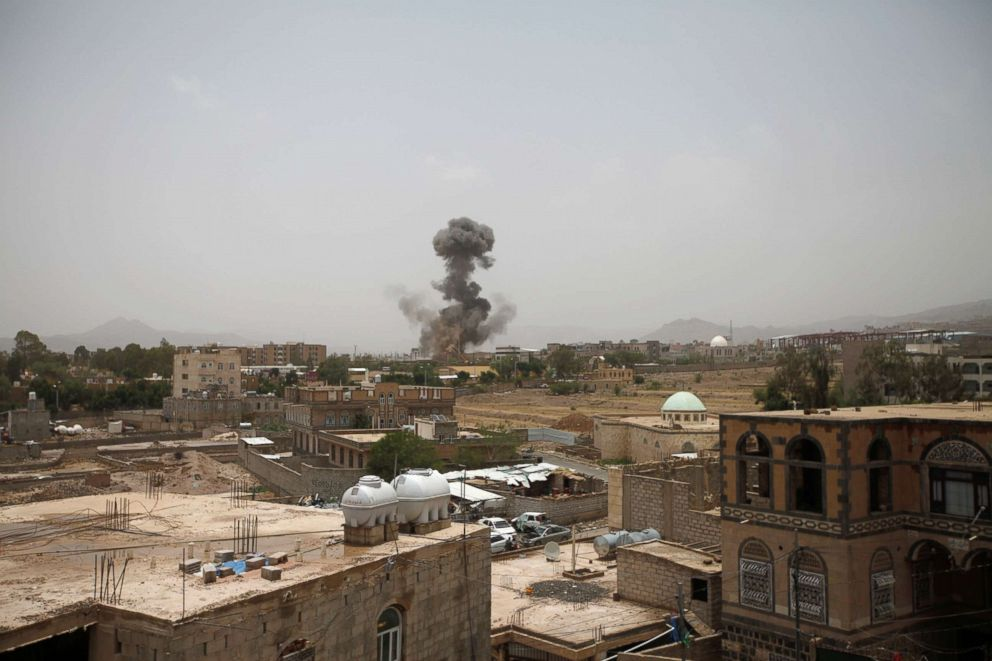 PHOTO: Smoke rises after an airstrike in Sanaa, Yemen Aug. 9, 2018.