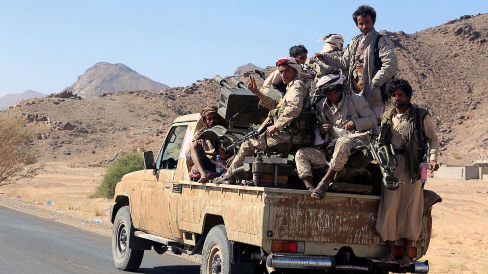 Pro-Yemeni government fighters patrol after driving Houthi rebels from the eastern district of Bayhan, 198 miles east of Sana'a, Yemen, Dec. 16, 2017. According to reports, Yemeni government forces, backed by the Saudi-led military coalition, have advanced on-ground and imposed full control over the eastern district of Bayhan in the oil-rich province of Shabwa, following fierce fighting with the Houthi rebels.