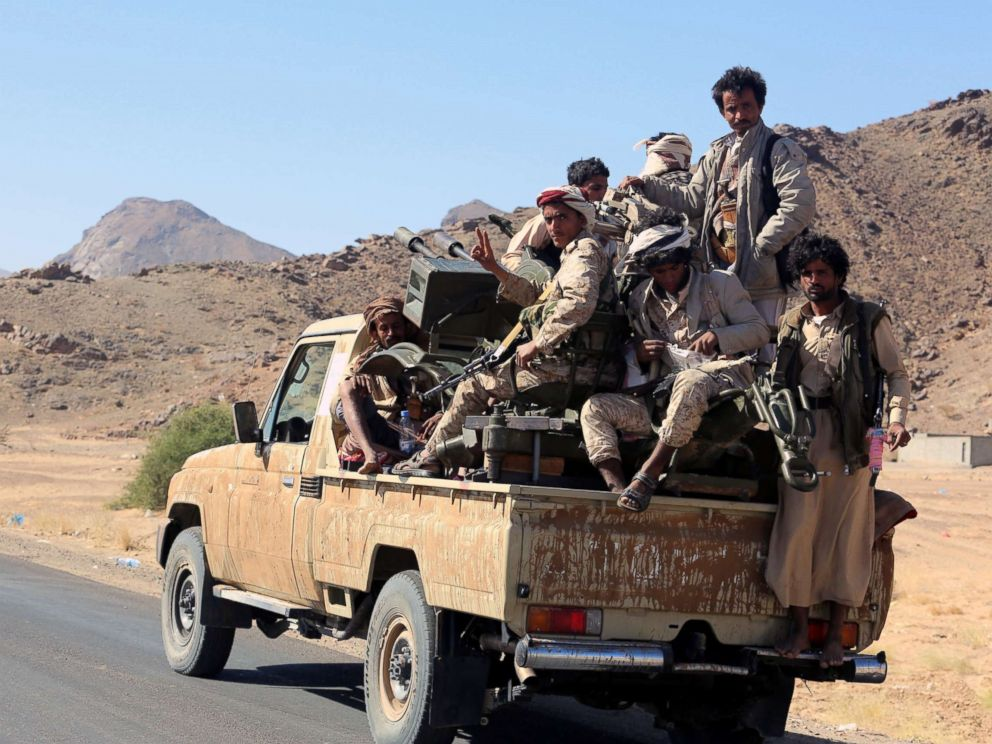PHOTO: Pro-Yemeni government fighters patrol after driving Houthi rebels from the eastern district of Bayhan, 198 miles east of Sanaa, Yemen, Dec. 16, 2017.