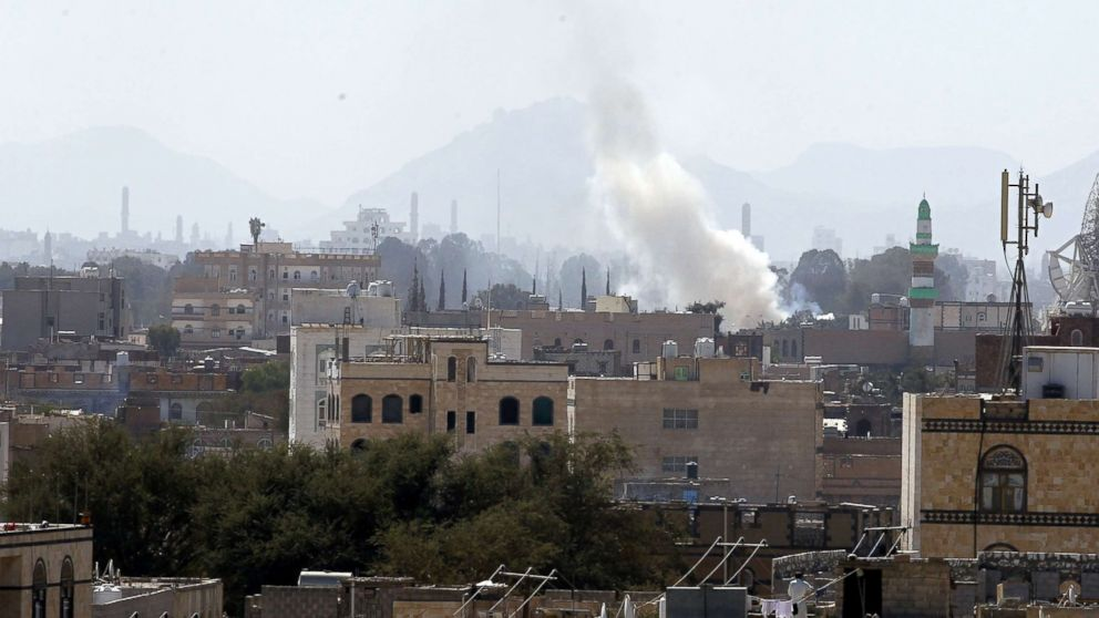 Smoke rises from explosions at a Houthi-held weapon depot a day after U.S. accused Iran of arming Houthi rebels with missiles, in Sana'a, Yemen, Dec. 15, 2017.