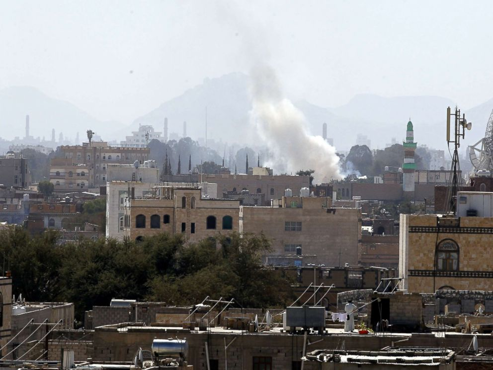 PHOTO: Smoke rises from explosions at a Houthi-held weapon depot a day after U.S. accused Iran of arming Houthi rebels with missiles, in Sanaa, Yemen, Dec. 15, 2017.