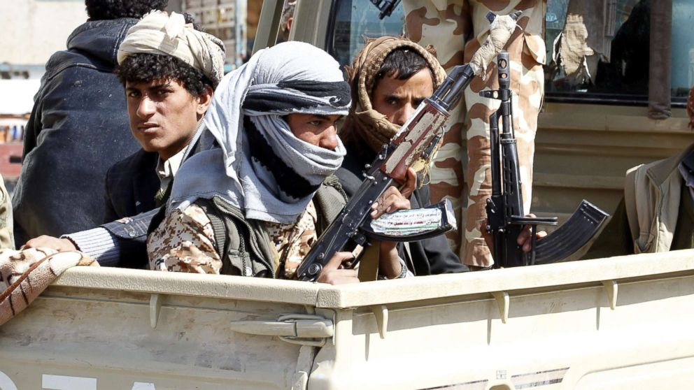 Houthi fighters ride a vehicle amid clashes between the Houthis and forces loyal to Yemen's ex-president Ali Abdullah Saleh, in Sana'a, Yemen, Dec. 4, 2017. According to reports on Dec. 19, 2017, Houthi rebels in Yemen fired a missile that was intercepted near Riyadh. This is the second incident after a similar missile in November missed Riyadh's airport.