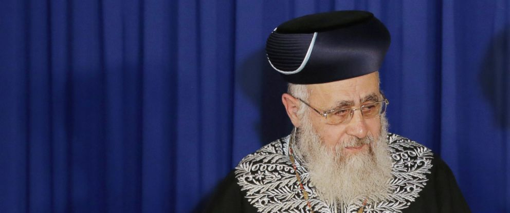 PHOTO: Israeli Sephardi Chief Rabbi, Yitzhak Yosef, during a visit to the Heichal Shlomo Center in Jerusalem in this May 26, 2014 file photo.