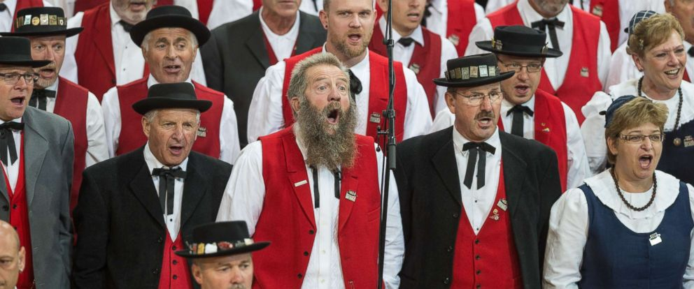 PHOTO: A yodel chorus performs at theyodel meeting in Davos, Switzerland, July 6, 2014.